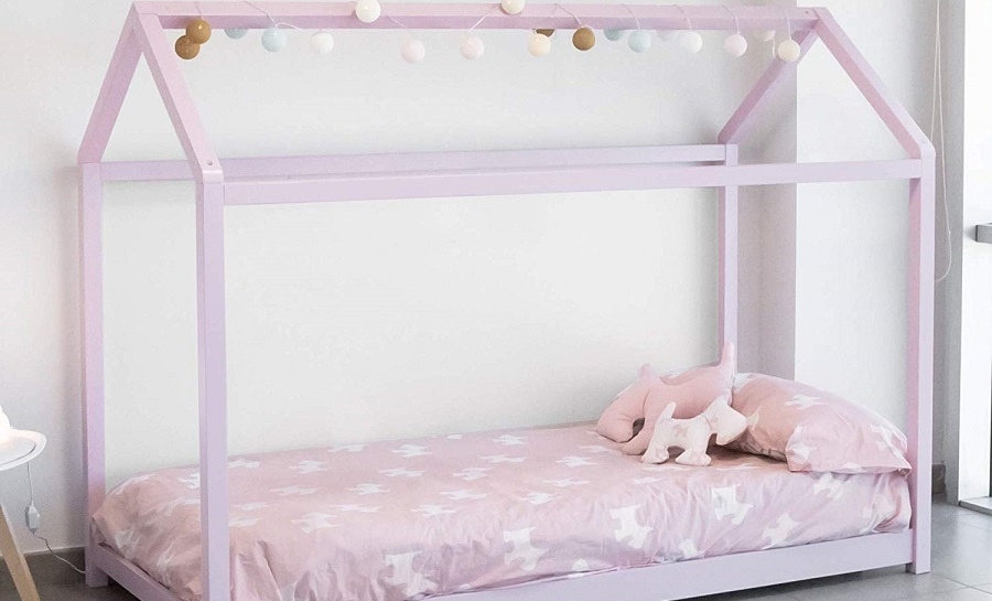 cama casa montessori de color rosa para niñas precios