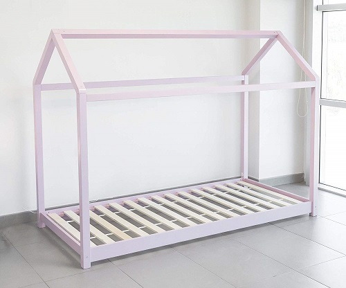 cama casita amontessori para niña color rosa